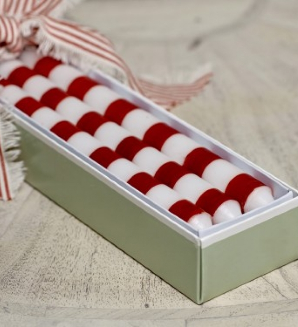Candles - Red Stripe - Box of 6